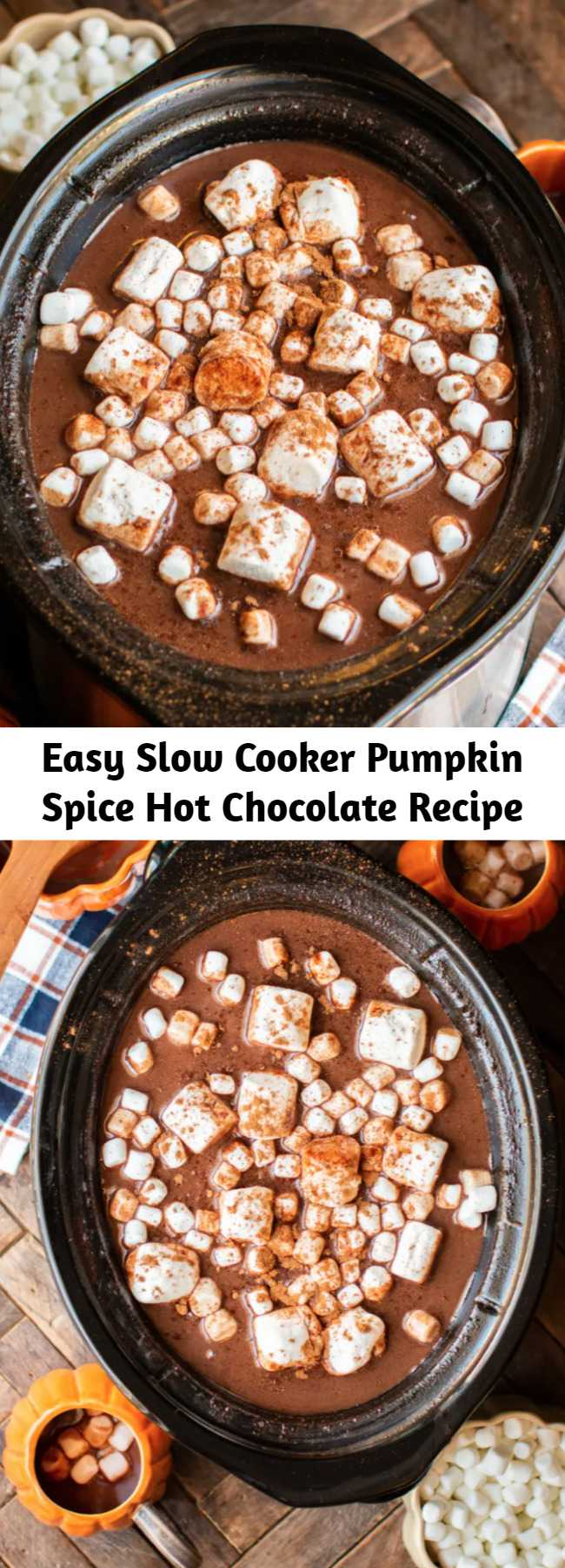 Easy Slow Cooker Pumpkin Spice Hot Chocolate Recipe - Pumpkin Spice Hot Chocolate easily made in the slow cooker! It's a delicious party drink that you and your guests will love.