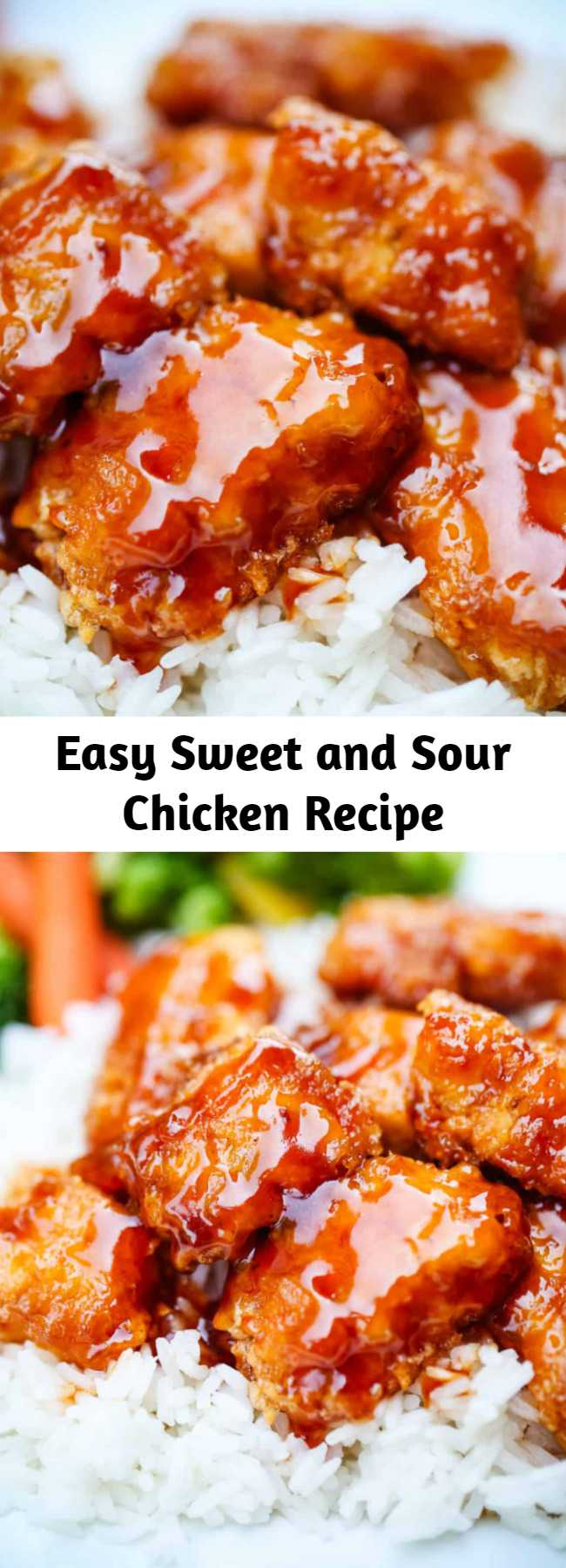 Easy Sweet and Sour Chicken Recipe - Skip the take out and make this delicious sweet and sour chicken recipe at home! The sauce is absolutely to die for. Serve with rice and fresh vegetables for the perfect dinner! #chicken #recipe #sweetandsour #sauce #baked #fried #crispy #chinese