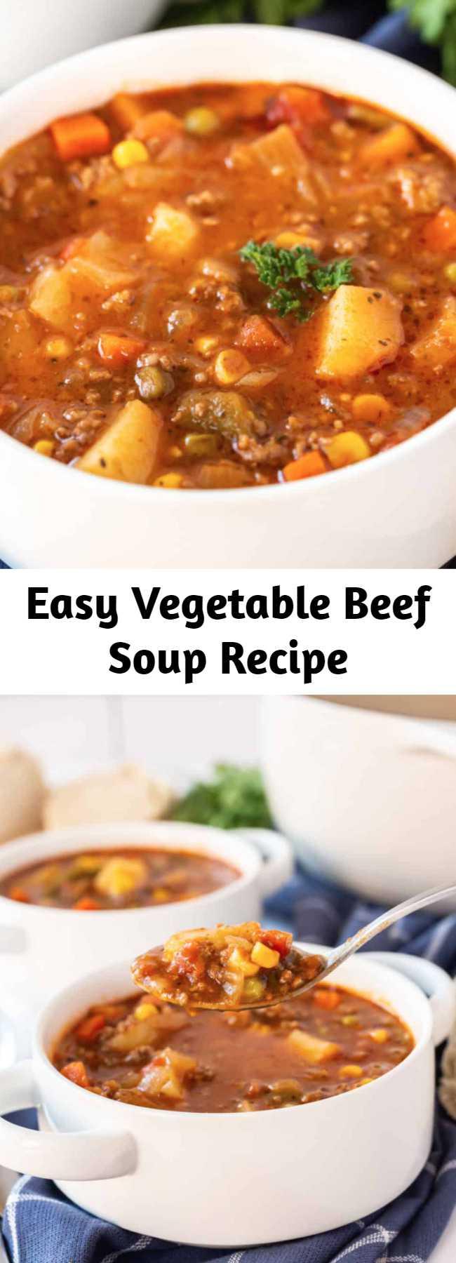 Easy Vegetable Beef Soup Recipe - When it comes to comfort this Vegetable Beef Soup is where it's at. With a short list of ingredients this easy soup is delicious, hearty and satisfies the family! #soup #beef #hearty #recipes #delicious #recipe #tasty #easyrecipe