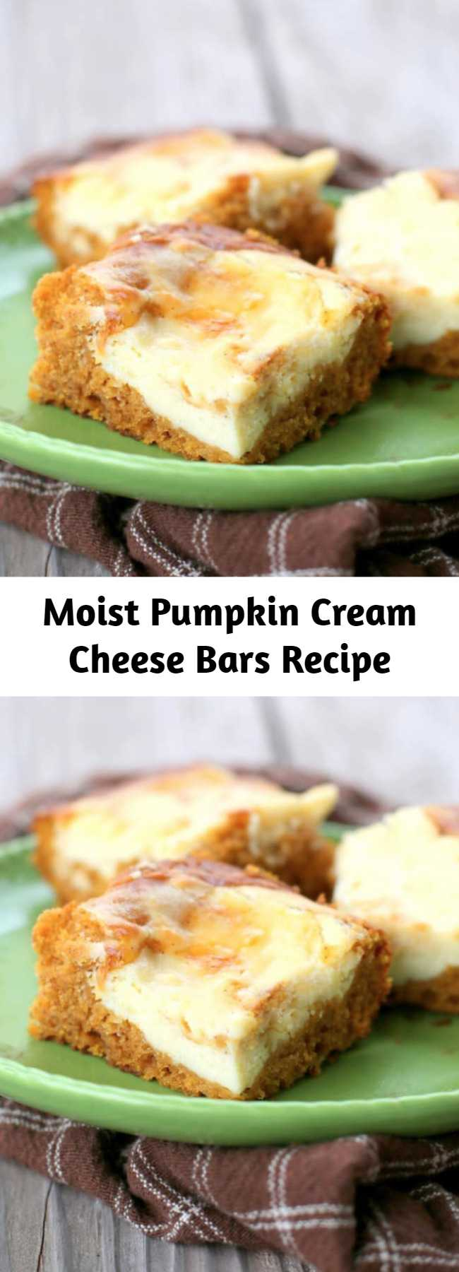 Moist Pumpkin Cream Cheese Bars Recipe - These Pumpkin Cream Cheese Bars are moist pumpkin bars with swirls of cream cheese frosting throughout. This dessert will be on your fall treat recipe list every year.