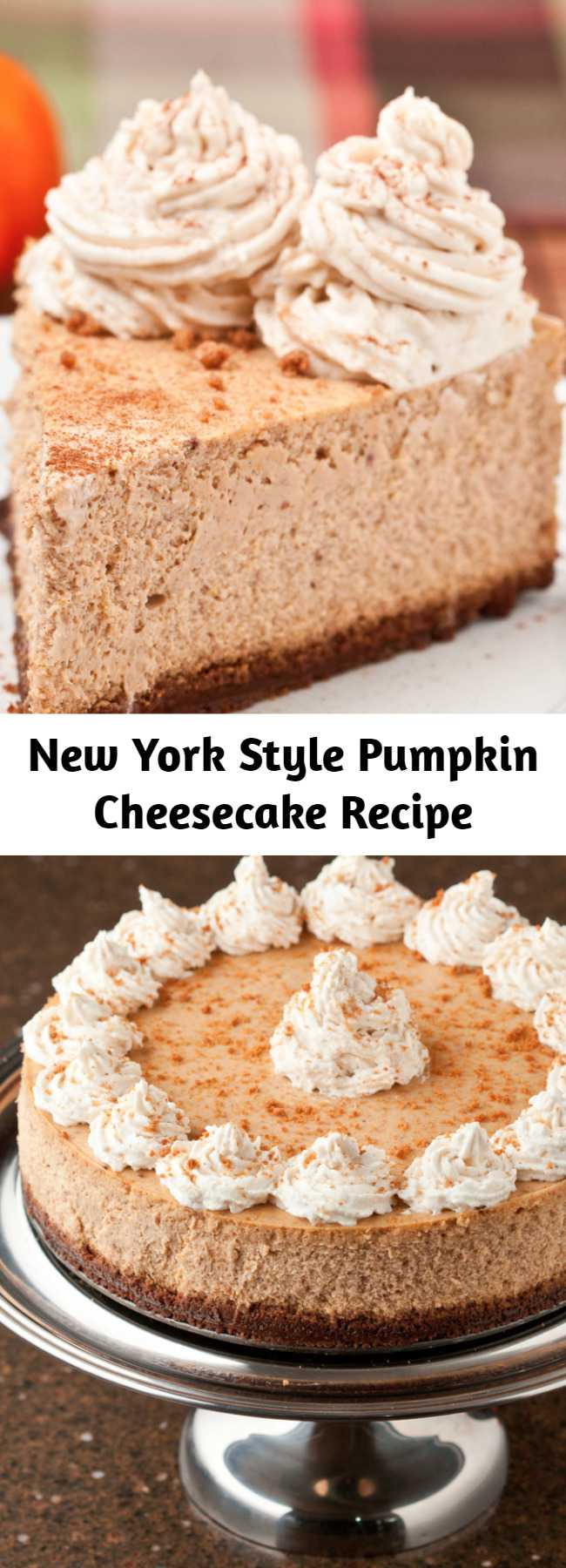 New York Style Pumpkin Cheesecake Recipe - Every bit as good or better than Cheesecake Factory's seasonal pumpkin cheesecake. NY style Pumpkin Cheesecake that's high, dense, and rich. The flavors of fall spices, pumpkin, and cream cheese meld together like no other. On top of a gingersnap crust. Seriously.