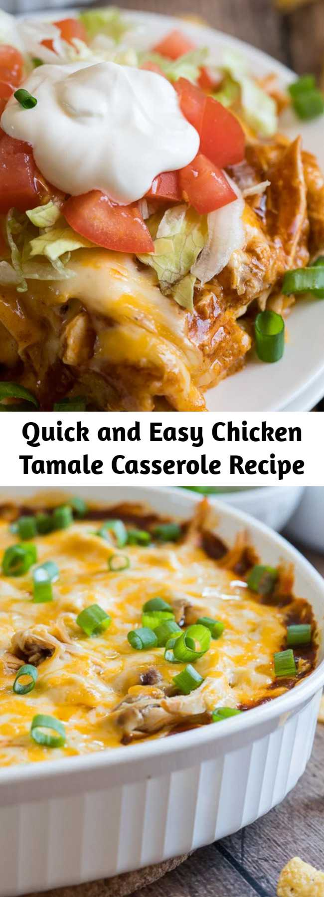 Quick and Easy Chicken Tamale Casserole Recipe - This cheesy Chicken Tamale Casserole is a quick and easy family weeknight dinner that has all the flavors of classic tamales without all the fuss!
