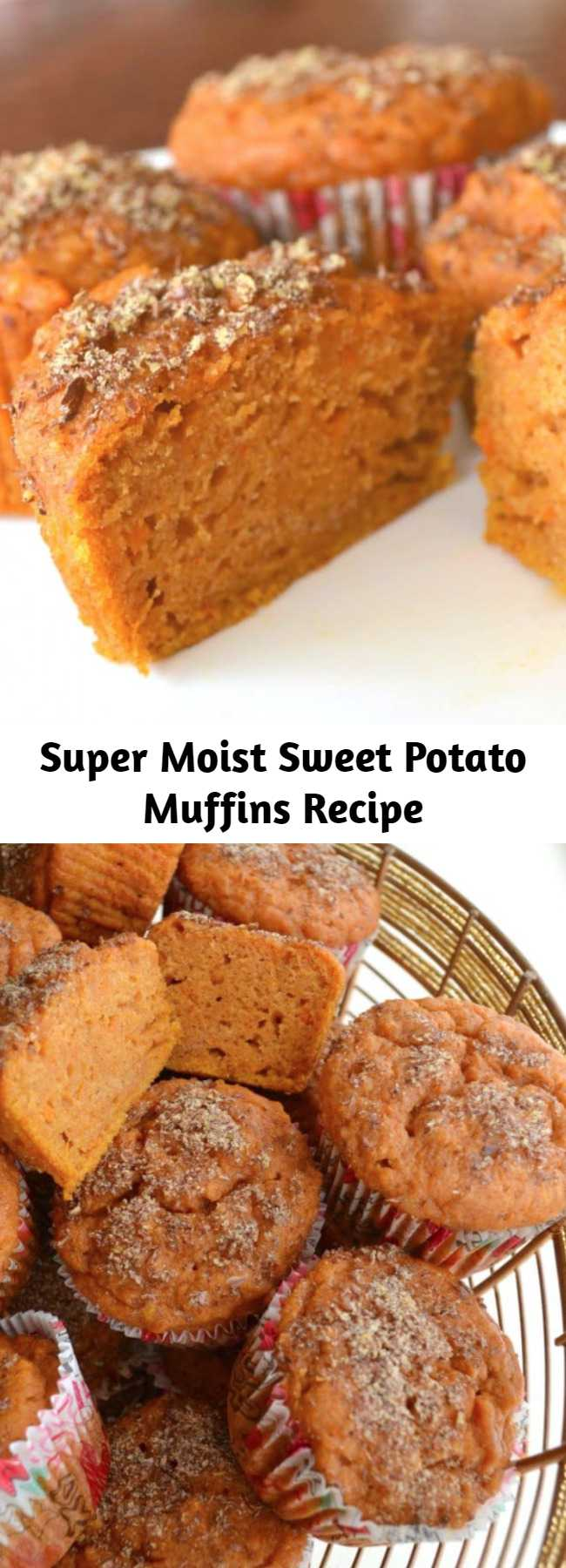 Super Moist Sweet Potato Muffins Recipe - These sweet potato muffins are extremely moist, packed with nutrients, and DELICIOUS! You can feel good about feeding them to your family for breakfast or for a snack.