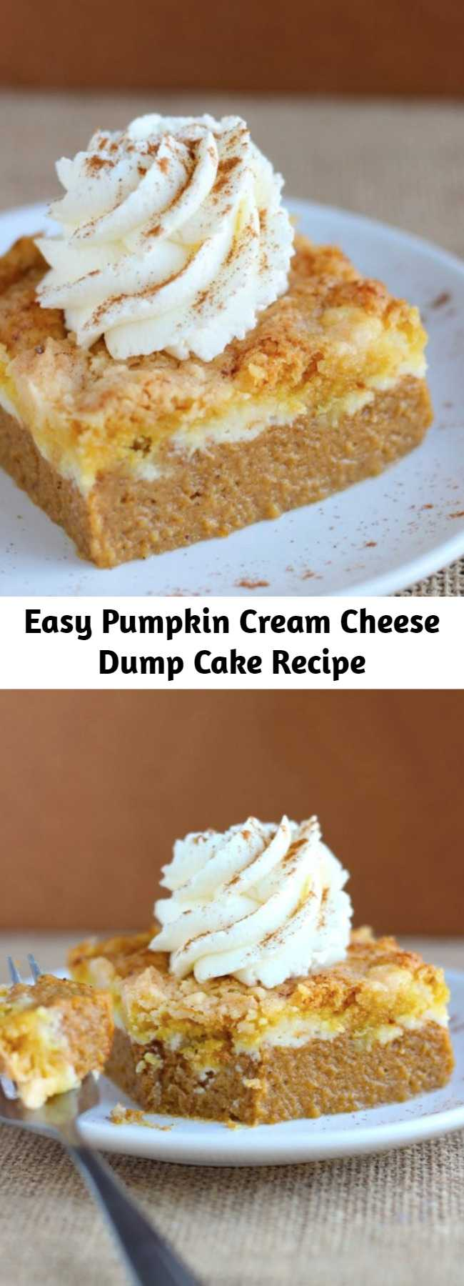 Easy Pumpkin Cream Cheese Dump Cake Recipe - BETTER and way easier than pumpkin pie! This Pumpkin Cream Cheese Dump Cake is the best way to serve pumpkin pie to a crowd!