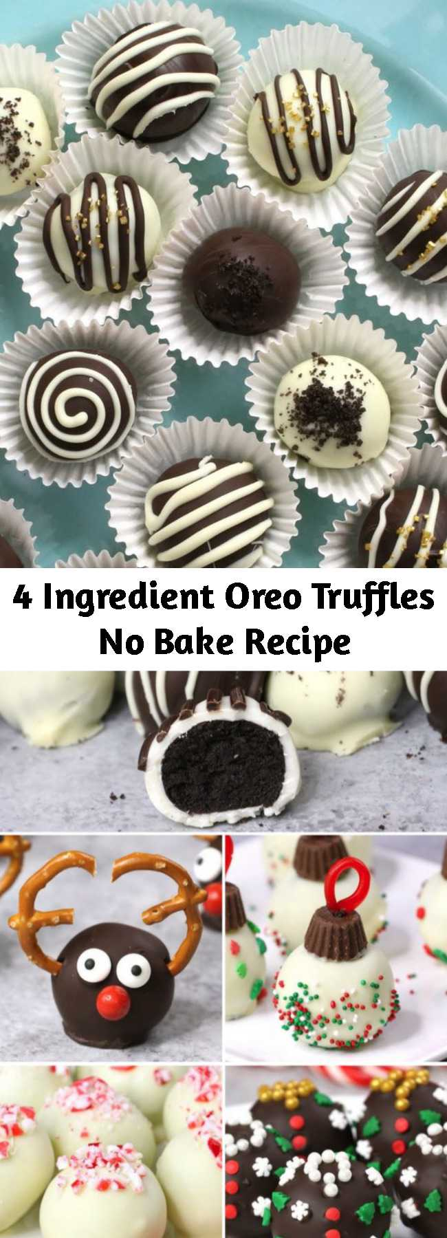 4 Ingredient Oreo Truffles No Bake Recipe - These Oreo Truffles are mouthwatering bite-size treat everyone will love! These homemade oreo balls are coated in chocolate and decorated with sprinkles and drizzle for a stunning presentation. Perfect for a party and also as fun DIY gifts.