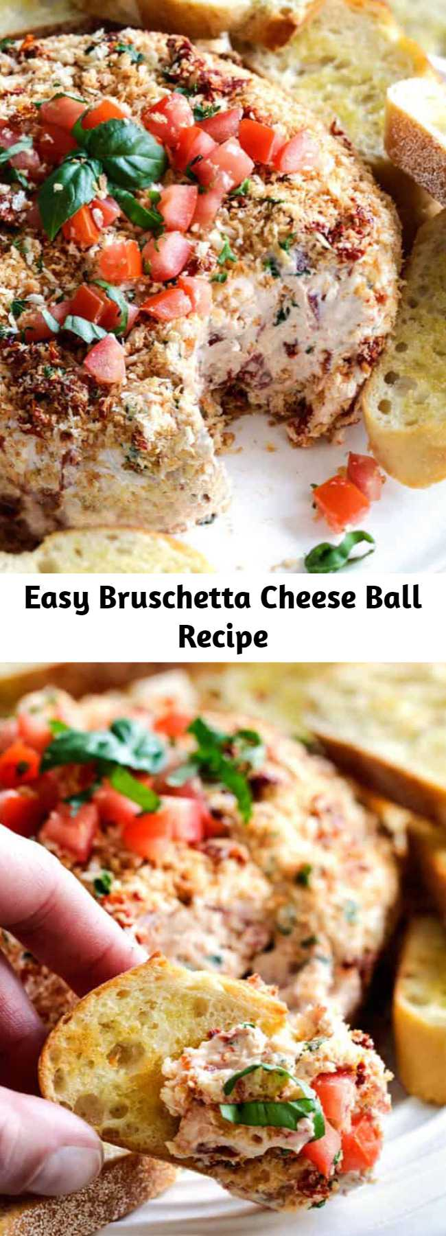 Easy Bruschetta Cheese Ball Recipe - Super easy Bruschetta Cheese Ball takes just minutes to whip up and is always a total show stopper, make ahead appetizer! #appetizer #cheeseball #bruschetta #thanksgivingrecipe #thanksgivingsides #holidaybaking #christmas #thanksgivingfood #thanksgiving #recipes #recipeoftheday #recipeseasy #easyrecipe #appetizers