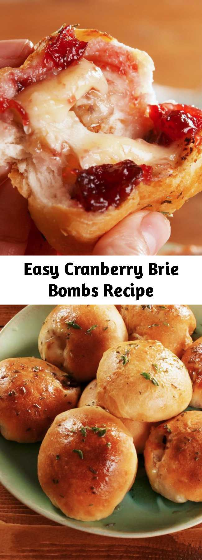 Easy Cranberry Brie Bombs Recipe - This easy appetizer is perfect for your holiday party. It's just another reason why we love biscuit dough! Stuffing crescent roll with brie and cranberry sauce is life changing. #easy #recipe #brie #cranberry #appetizer #thanksgiving #bombs #cheese