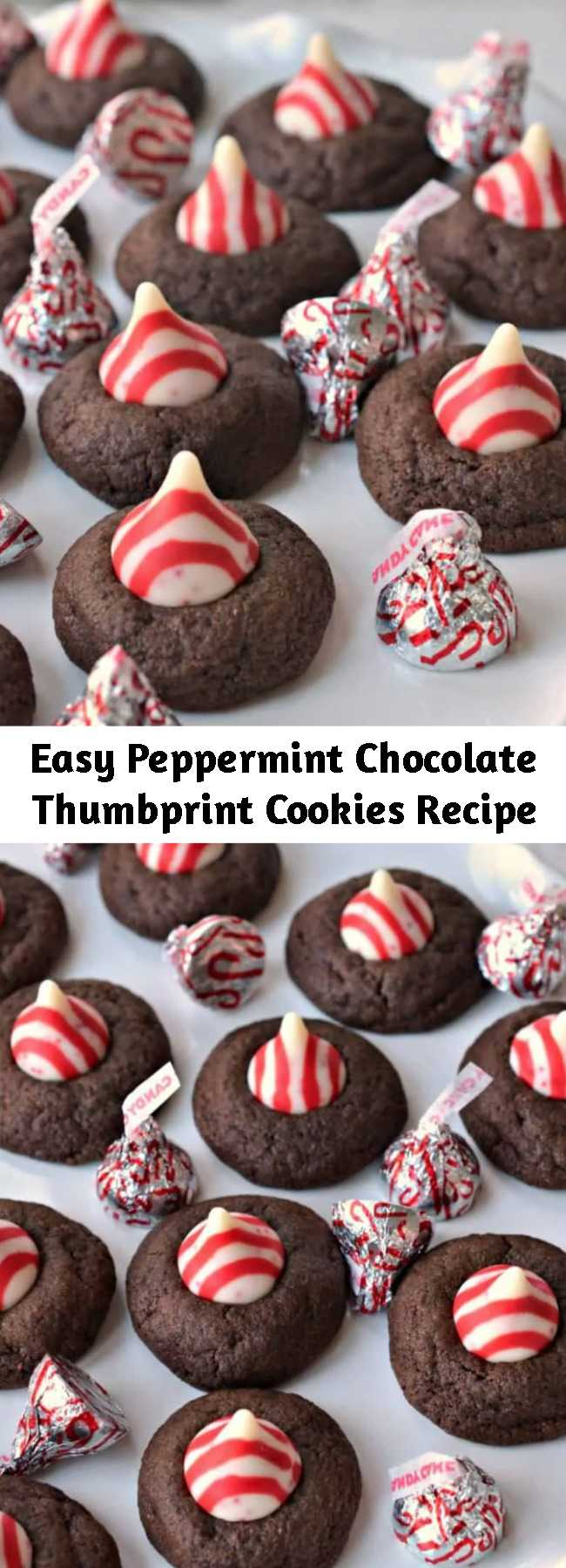 Easy Peppermint Chocolate Thumbprint Cookies Recipe - Easy Peppermint Chocolate Thumbprint Cookies are delicious buttery chocolate treats that are baked to perfection and topped with a colorful red and white chocolate peppermint kiss.