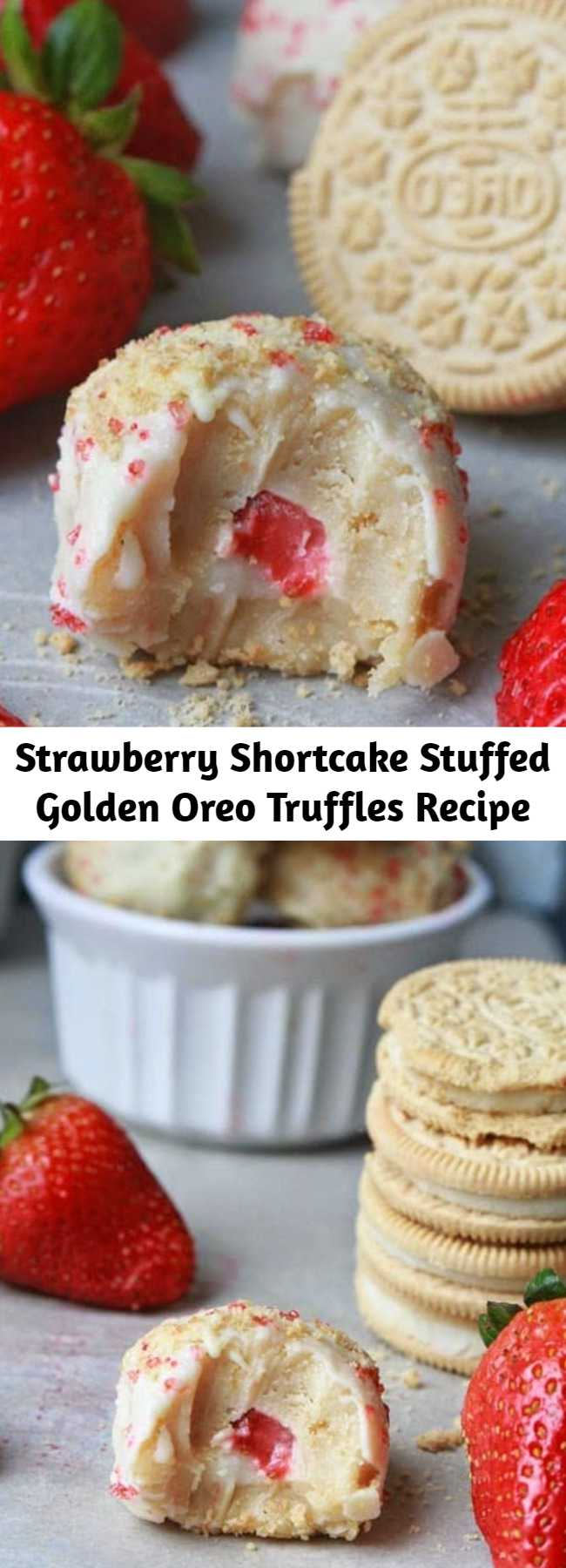 Strawberry Shortcake Stuffed Golden Oreo Truffles Recipe - Strawberry shortcake truffles made with Golden Oreo cookies and cream cheese. The dough balls are stuffed with fresh strawberries and whipped cream then dipped into melted white chocolate. A simple and fun way to enjoy the classic strawberry shortcake.
