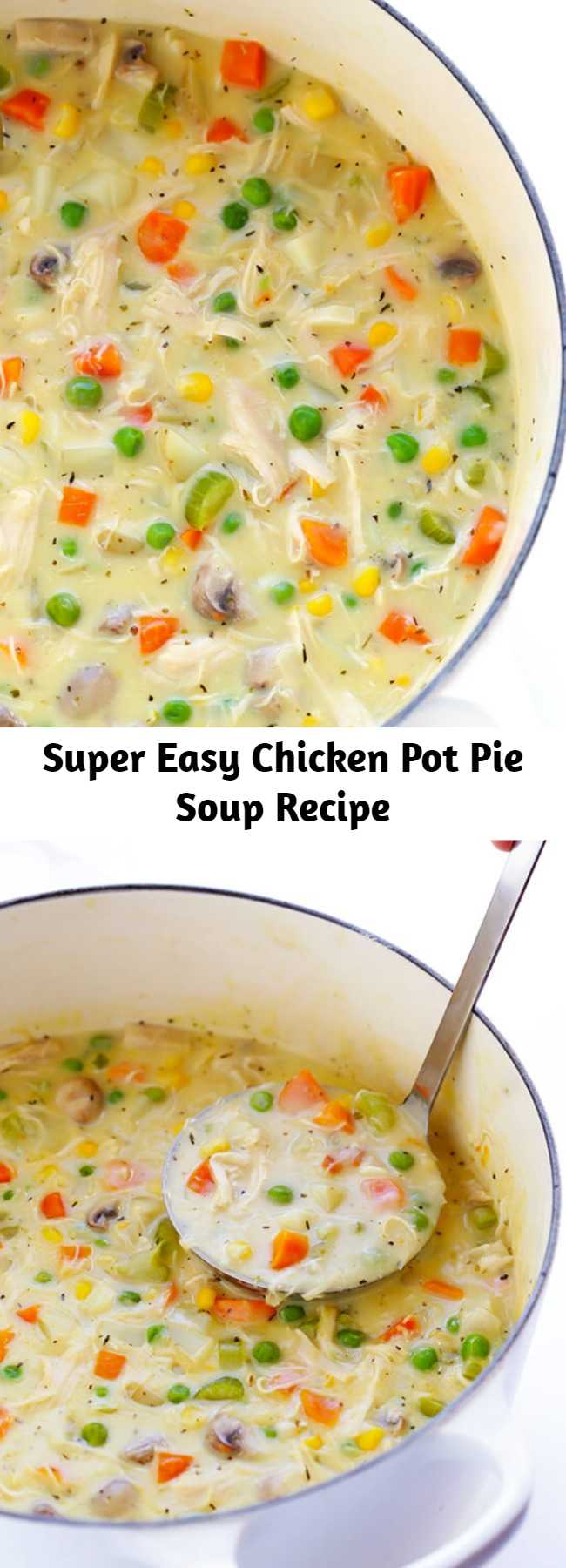 Super Easy Chicken Pot Pie Soup Recipe - This Chicken Pot Pie Soup recipe is simple to make, lightened up with a few easy tweaks, and deliciously rich and creamy.