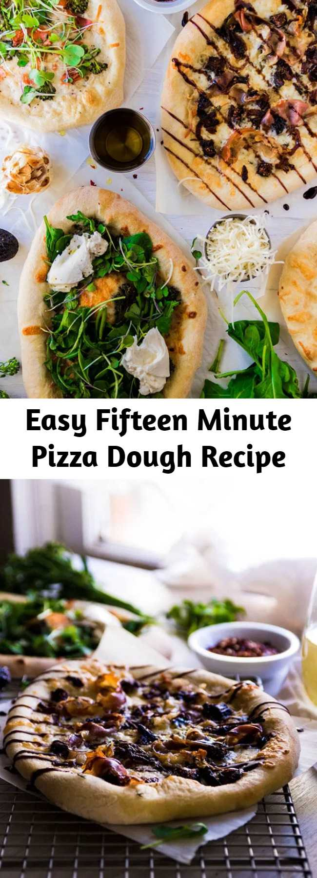Easy Fifteen Minute Pizza Dough Recipe - This easy pizza dough recipe is weeknight-friendly and ready to bake in just fifteen minutes. The perfect quick pizza dough for busy evenings. Vegan, vegetarian.