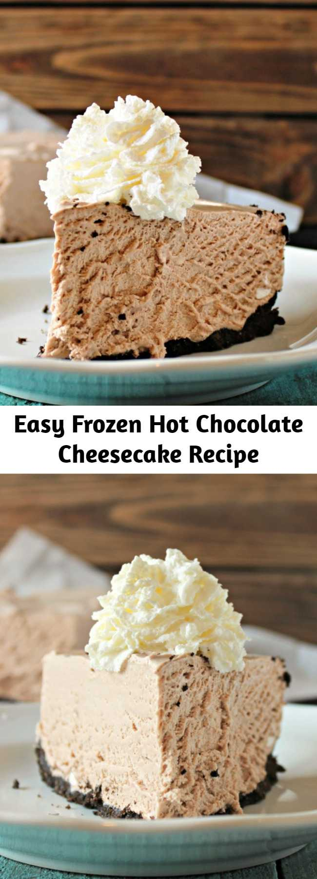 Easy Frozen Hot Chocolate Cheesecake Recipe - A frozen hot chocolate cheesecake (ice cream, chesesecake-flavored pie) with an oreo crust, mini marshmallows, and swirls of marshmallows mixed throughout.