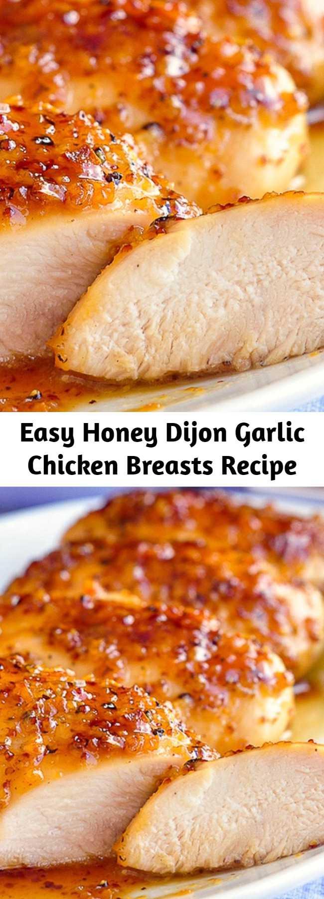 Easy Honey Dijon Garlic Chicken Breasts Recipe - Boneless skinless chicken Breasts quickly baked in an intensely flavoured honey, garlic and Dijon mustard glaze.