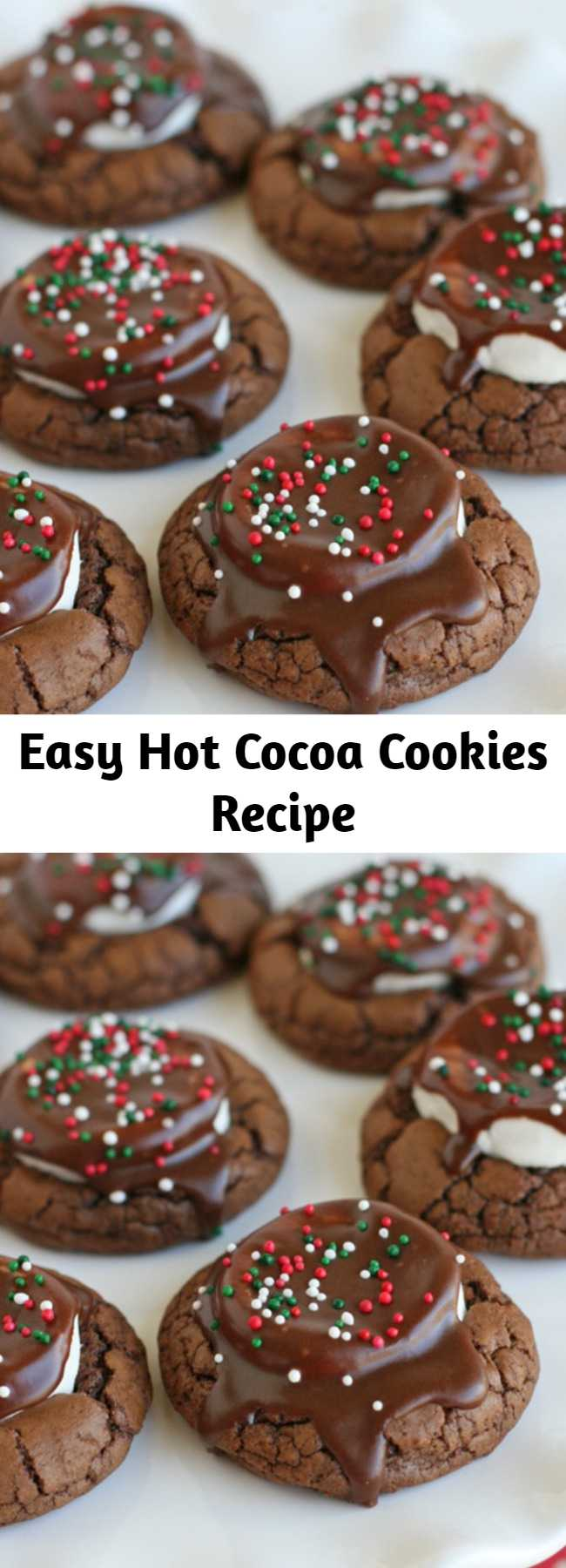 Easy Hot Cocoa Cookies Recipe - These Hot Cocoa Cookies are rich, chewy, chocolaty and oh so delicious! These are a perfect cookie for Christmas, or any time of year!
