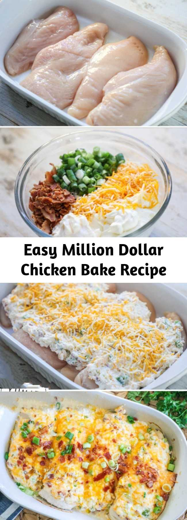 Easy Million Dollar Chicken Bake Recipe - This Million Dollar Chicken makes baked chicken breast exciting again! Packed with rich, bold flavors, this one dish meal is a family favorite!