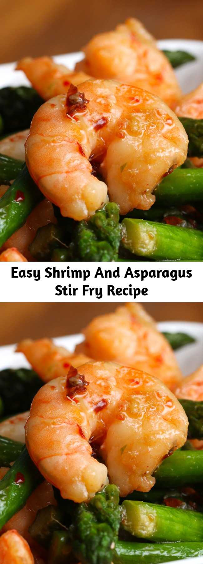 Easy Shrimp And Asparagus Stir Fry Recipe (Under 300 Calories) - SO GOOD! Quick, easy, simple and tasty.