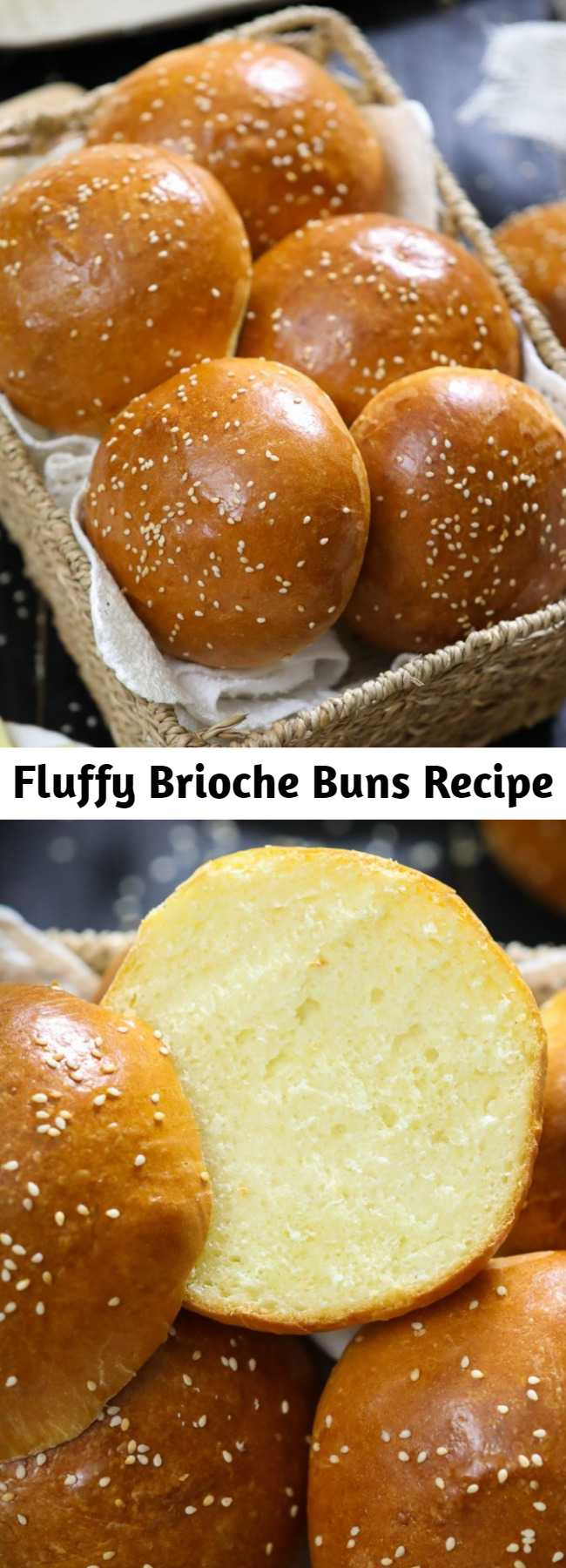Fluffy Brioche Buns Recipe - These buttery brioche buns are so fluffy and perfect for any burger or sandwich. The moment you sink your teeth into the brioche rolls you'll fall in love! #briochebuns #brioche #briocherecipe #burgerbuns #briocherolls