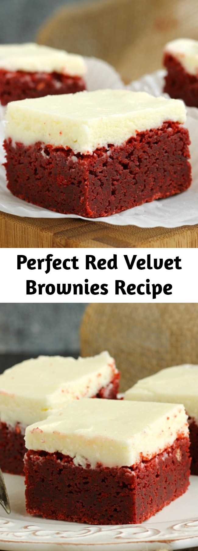 Perfect Red Velvet Brownies Recipe - A classic cake is made into rich, dense and delicious brownies. Smother them in cream cheese frosting and they're dessert perfection.