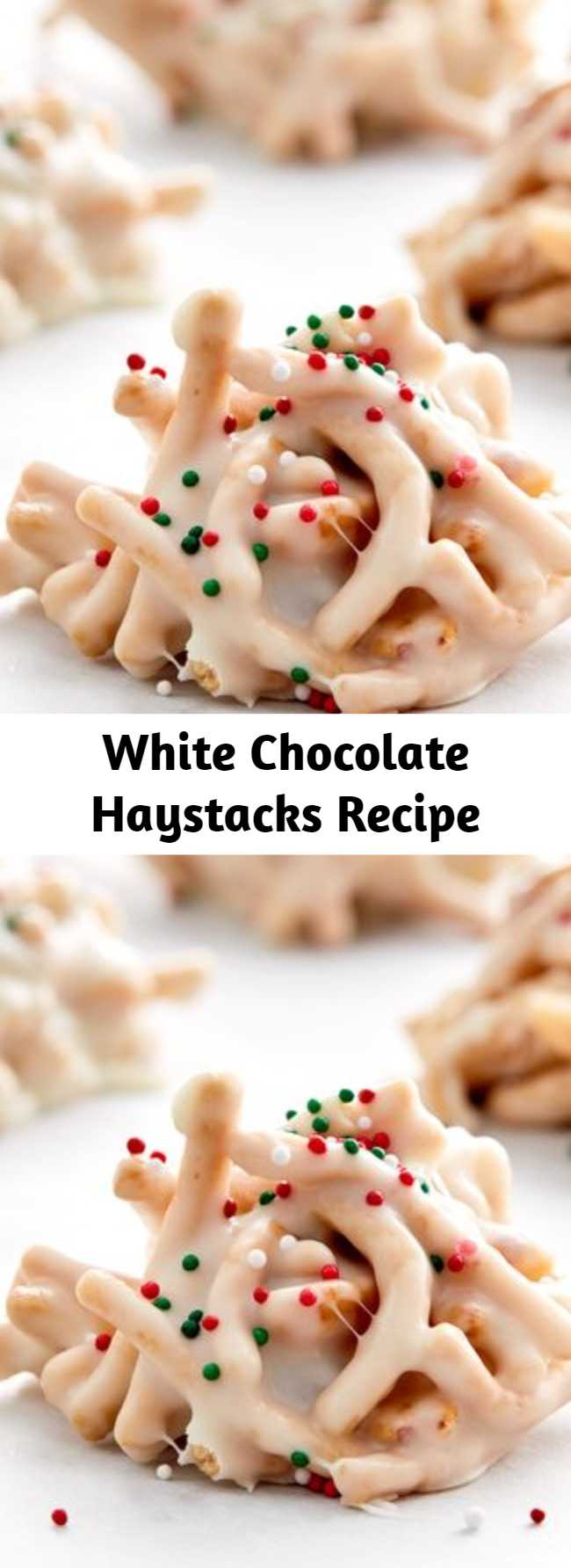 White Chocolate Haystacks Recipe - This festive spin on a classic no-bake treat is a special addition to your holiday cookie tray. Chow mein noodles and salted peanuts are tossed with melted white chips, marshmallows and a surprise ingredient--vanilla frosting--and finished with holiday sprinkles. This recipe makes a large batch, perfect for holiday get-togethers.