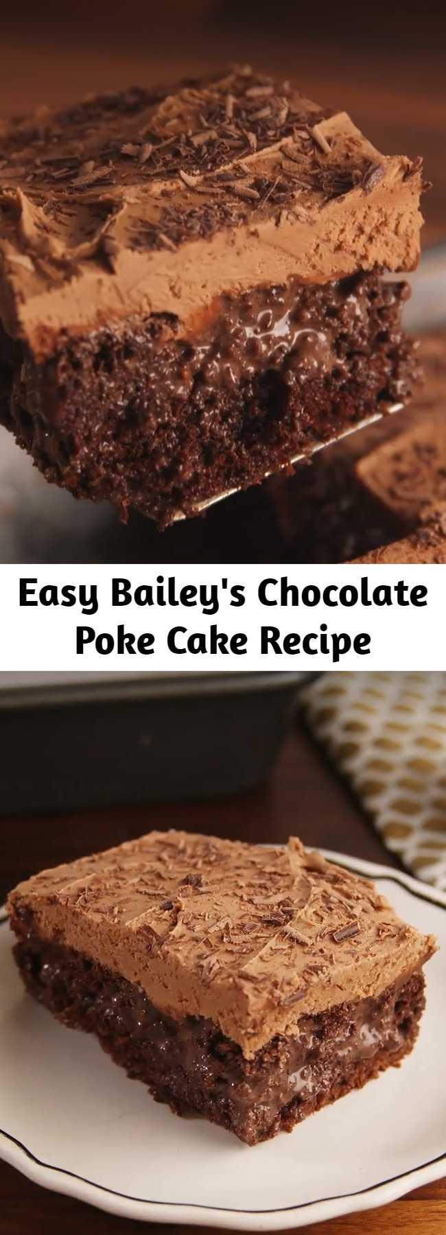 Easy Bailey's Chocolate Poke Cake Recipe - Chocolate on chocolate. Step up your boxed chocolate cake mix with Baileys! If you love Baileys you'll love this Baileys Poke Cake. #easy #recipe #cake #chocolate #baileys #liqueur #alcohol #pokecake #heavycream #storebought #condensedmilk #irishcream #irish #howtomake