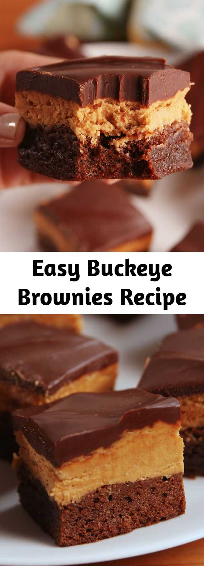 Easy Buckeye Brownies Recipe - We've made A LOT of brownies in our day and these put all others to shame. It's chocolate and peanut butter. What more could you want?