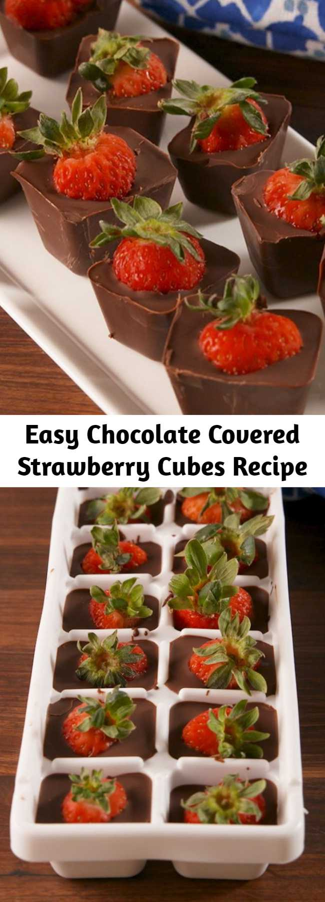 Easy Chocolate Covered Strawberry Cubes Recipe - This ice cube tray hack is the easiest way to make chocolate covered strawberries. The perfect chocolate to strawberry ratio. #recipe #easyrecipe #chocolate #strawberry #strawberries #valentinesday #valentine #hack #lifehack #dessert #sweet #coconutoil