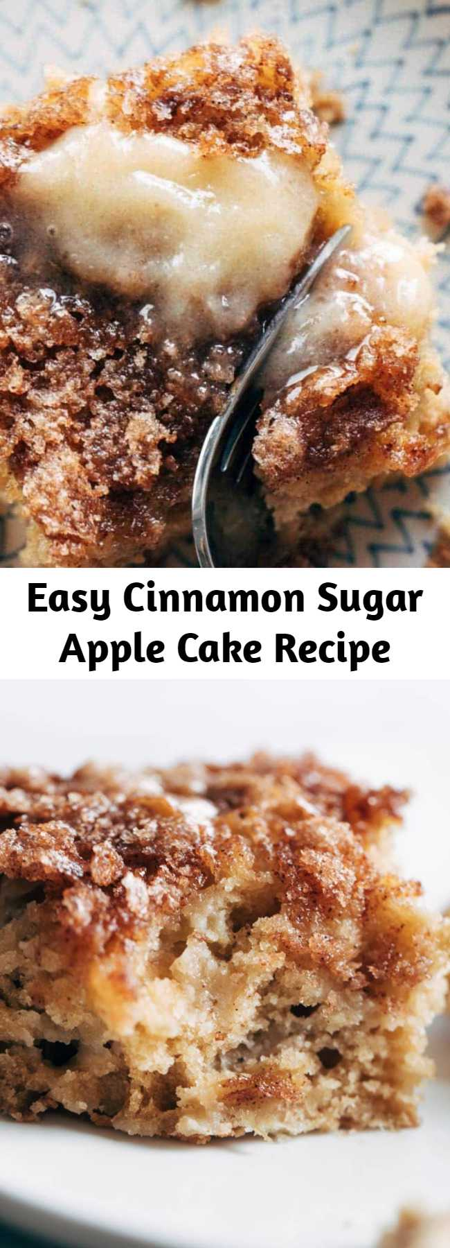 Easy Cinnamon Sugar Apple Cake Recipe - This simple cinnamon sugar apple cake is light and fluffy, loaded with fresh apples, and topped with a crunchy cinnamon sugar layer! #cake #apple #dessert #baking #recipe