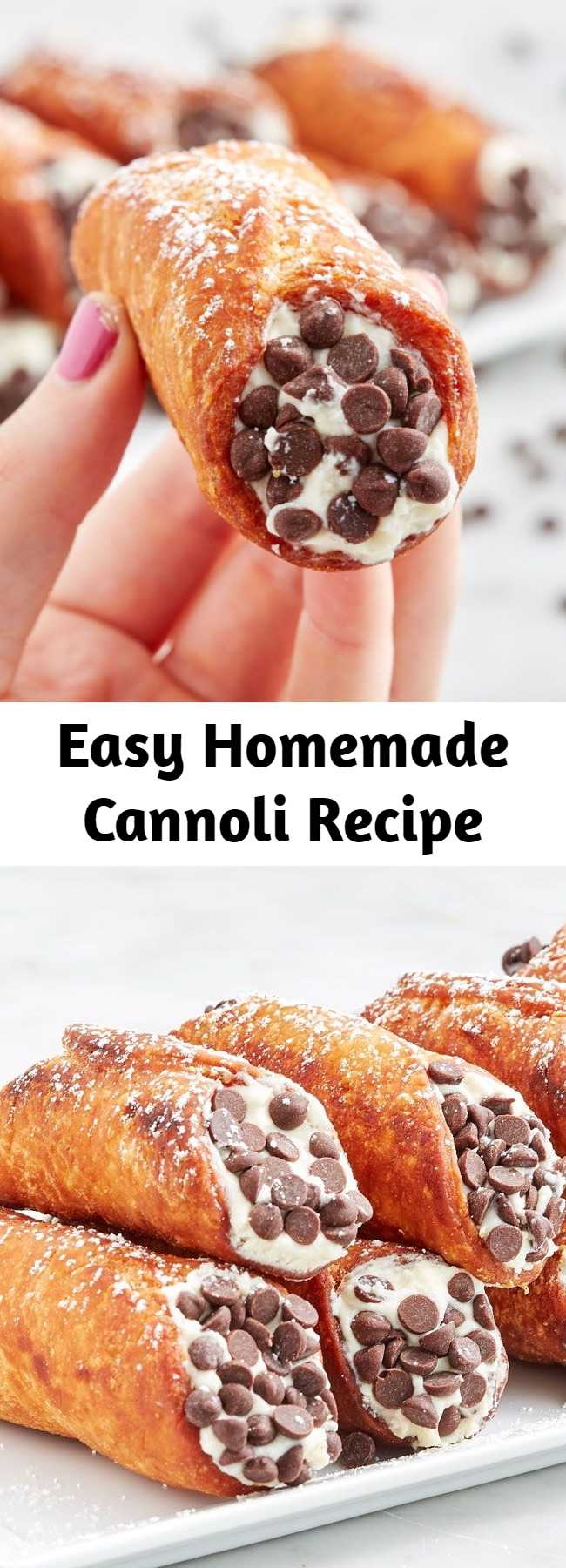 Easy Homemade Cannoli Recipe - The crispy shell and creamy sweet filling are nearly irresistible. Often times, they come with mini chocolate chips or chopped pistachios or dipped in chocolate. No matter what topping you pick, they're a MAJOR treat.