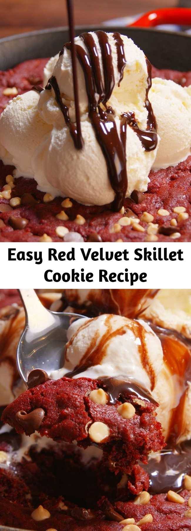 Easy Red Velvet Skillet Cookie Recipe - Looking for an easy red velvet dessert? This Red Velvet Skillet Cookie Recipe is the best. Grab a spoon and go at it.