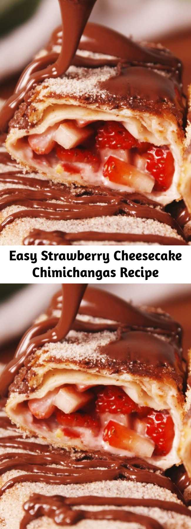Easy Strawberry Cheesecake Chimichangas Recipe - Check out this easy recipe for the best strawberry cheesecake chimichangas! Our new favorite way to eat cheesecake.