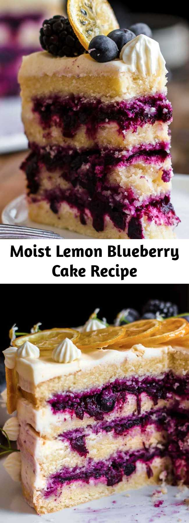 Moist Lemon Blueberry Cake Recipe - This Lemon Blueberry Cake is tangy, sweet, super moist, and creamy. The soft lemon cake layers are filled with a blueberry sauce filling and an ultra-creamy lemon cream cheese frosting. #lemon #blueberry #cake #creamcheesefrosting #baking #sweets #dessert