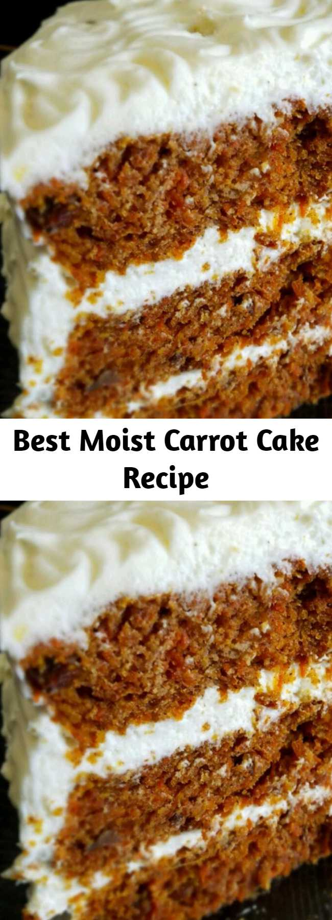Best Moist Carrot Cake Recipe - A moist and flavorful recipe that makes a large quantity of cake. I have been hounded to make this cake time and time again.