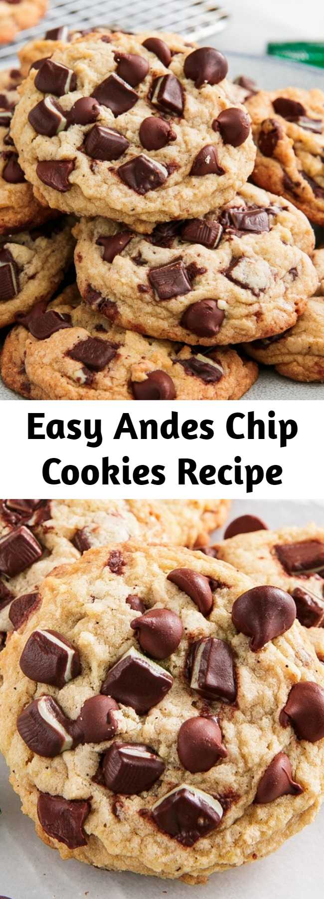 Easy Andes Chip Cookies Recipe - If you're a fan of mint + chocolate desserts, these cookies will blow your mind. The espresso powder is technically optional, but honestly, it's what makes them so special. #easy #recipe #chocolate #mint #andes #cookies #christmascookies #Baking #desserts #peppermint #holidays