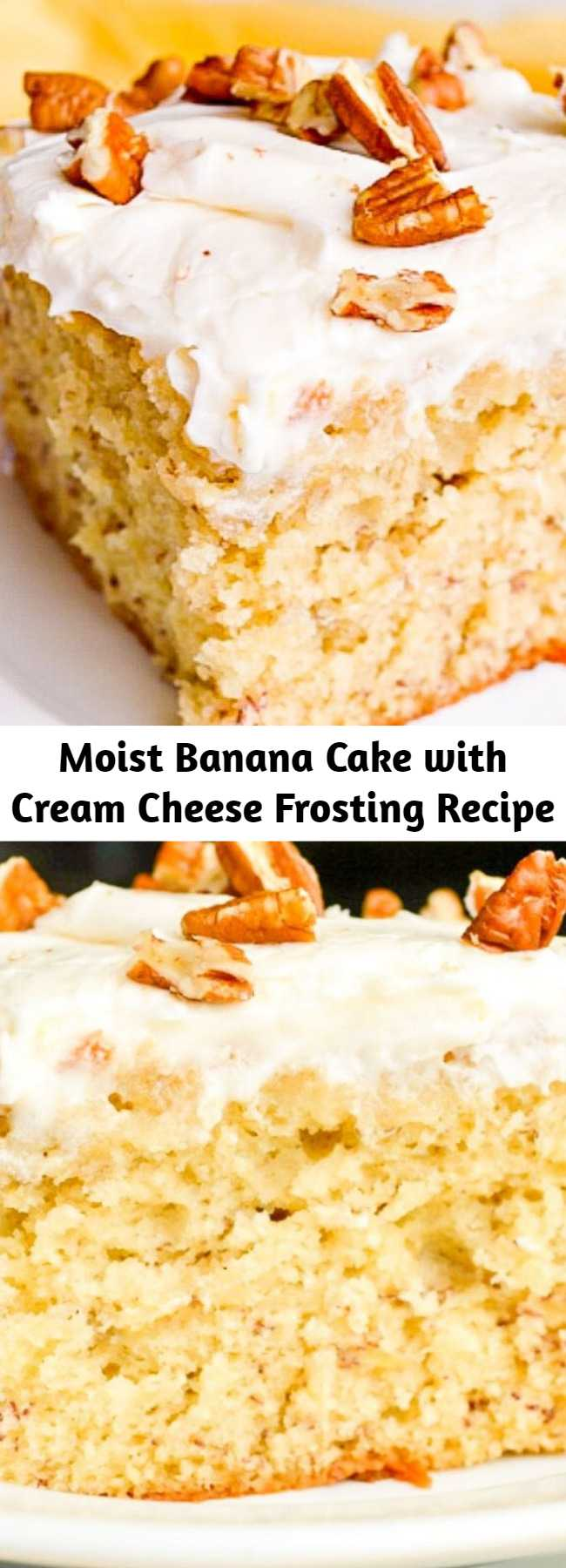 Moist Banana Cake with Cream Cheese Frosting Recipe - Banana Cake with Cream Cheese Frosting combines common pantry ingredients into a tender, moist cake with tons of banana flavor and a tangy, sweet frosting!