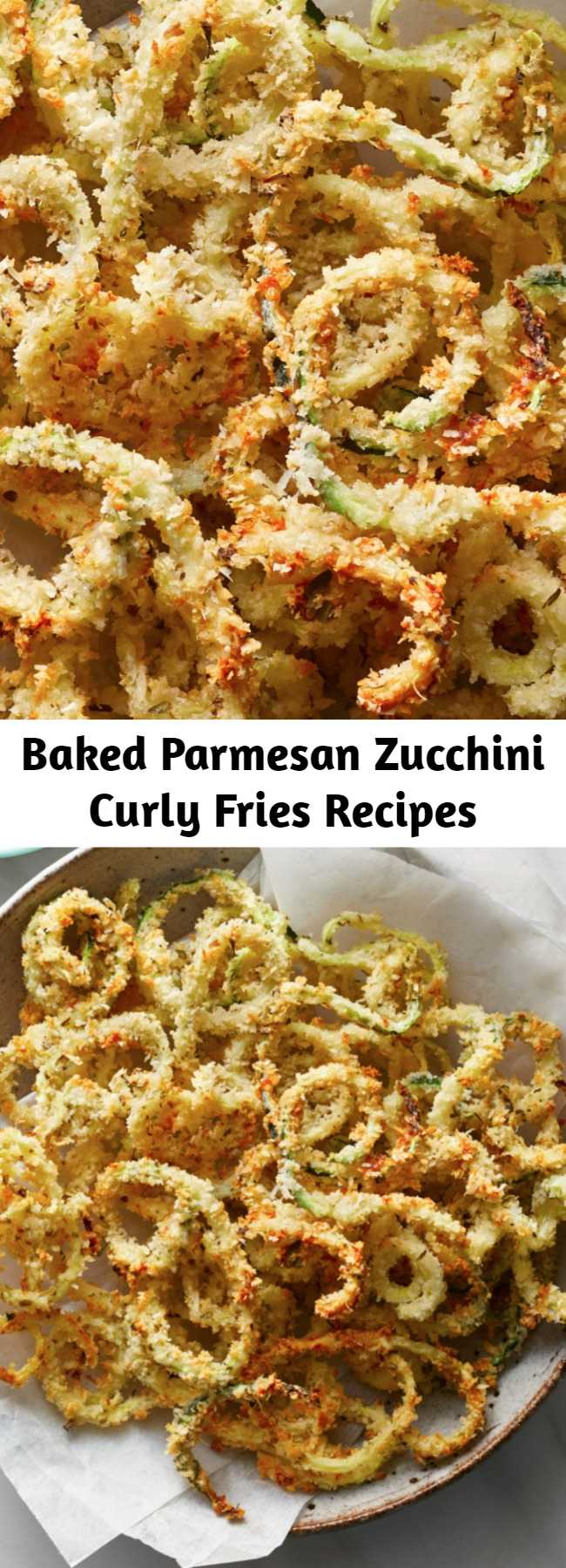 Baked Parmesan Zucchini Curly Fries Recipes - This healthy recipe combines two bar food favorites--fried zucchini and curly fries--into one tempting package. No matter what you serve them with, they're a fun way to eat more vegetables for kids and adults alike. #comfortfood #comfortfoodrecipes #healthycomfortfood #healthycomfortfoodrecipes #recipe #healthy