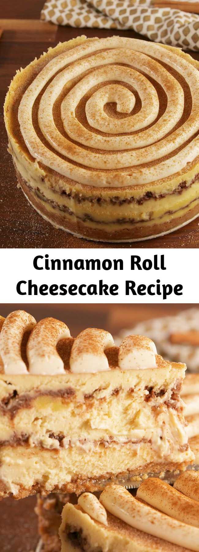 Cinnamon Roll Cheesecake Recipe - The inside of this cheesecake though. #easyrecipe #dessert #cheesecake #baking