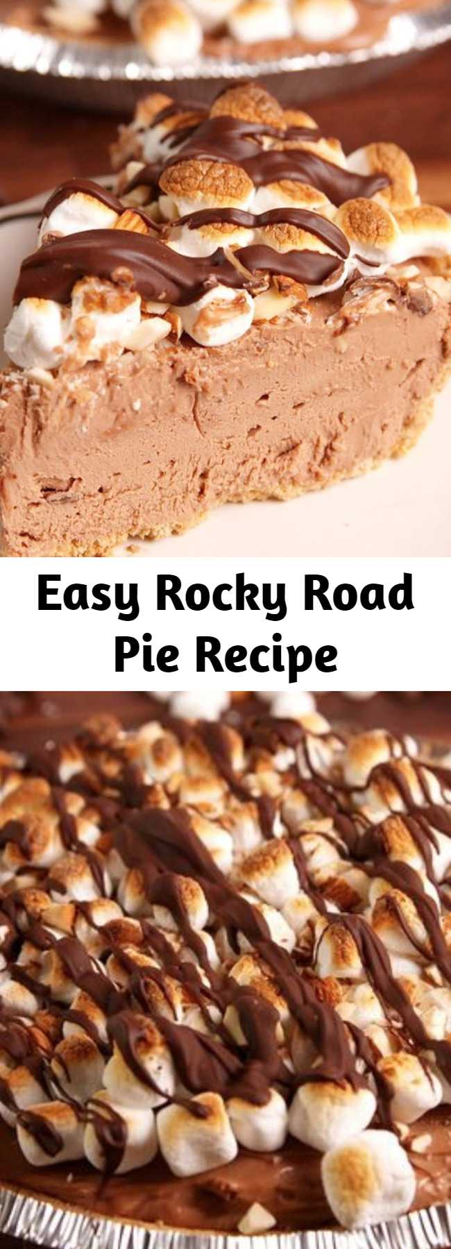 Easy Rocky Road Pie Recipe - Turn your favorite ice cream flavor into a no-bake pie with this easy recipe for rocky road pie.