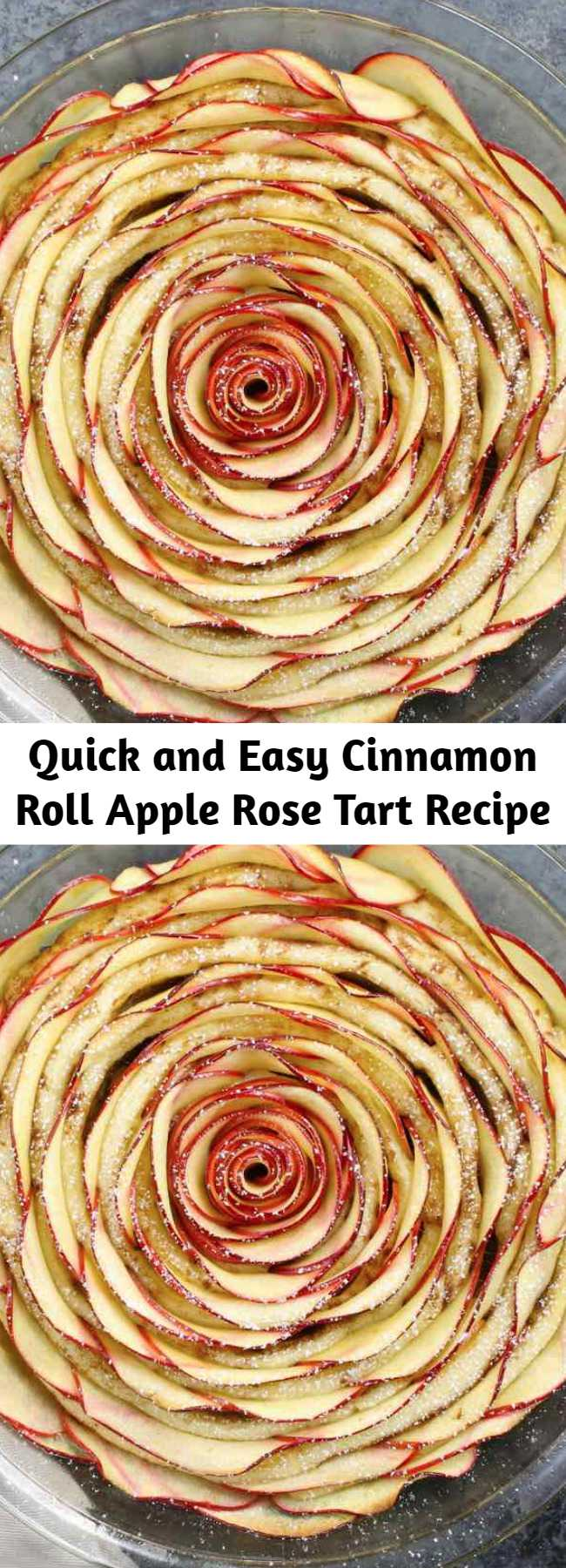 Quick and Easy Cinnamon Roll Apple Rose Tart Recipe - Wow your guests with this beautiful Cinnamon Roll Apple Rose Tart. It's so easy to make and perfect for a party! Made with fresh apples. All you need is only 5 simple ingredients: cinnamon roll dough, red apples, lemon juice, brown sugar and butter. So beautiful! Quick and easy recipe.