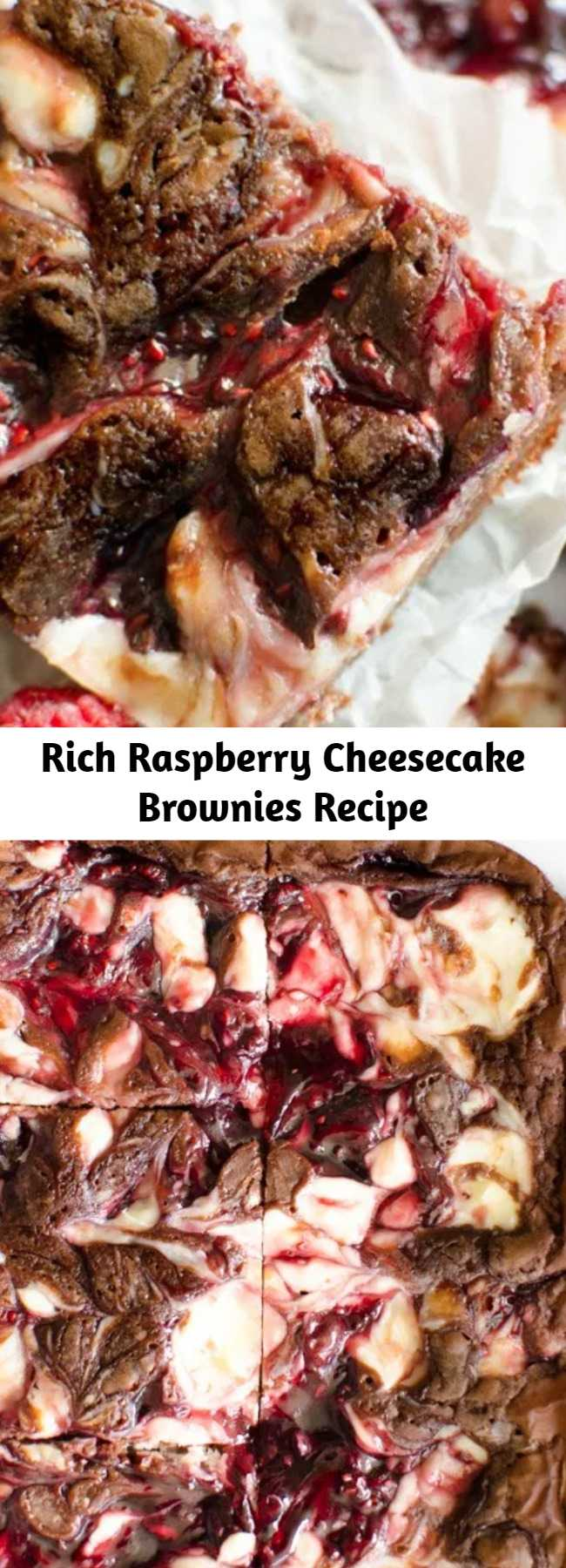 Rich Raspberry Cheesecake Brownies Recipe - Raspberry Cheesecake Brownies are decedent 5 ingredient brownies with a raspberry cheesecake swirl. Quick & easy raspberry cheesecake brownie recipe that looks and tastes incredible!