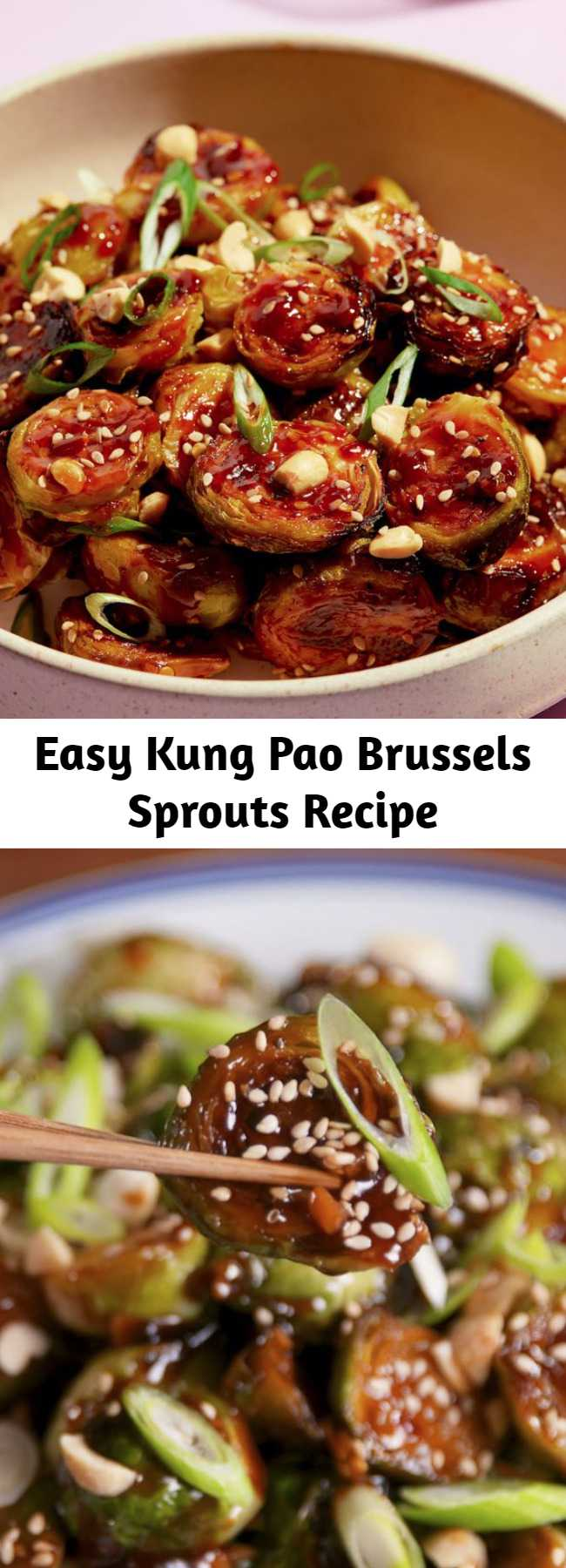 Easy Kung Pao Brussels Sprouts Recipe - The kung pao sauce on these will turn everyone into a lover of Brussels sprouts. Salty, spicy, and addicting. #food #easyrecipe #healthyeating #cleaneating #vegetarian