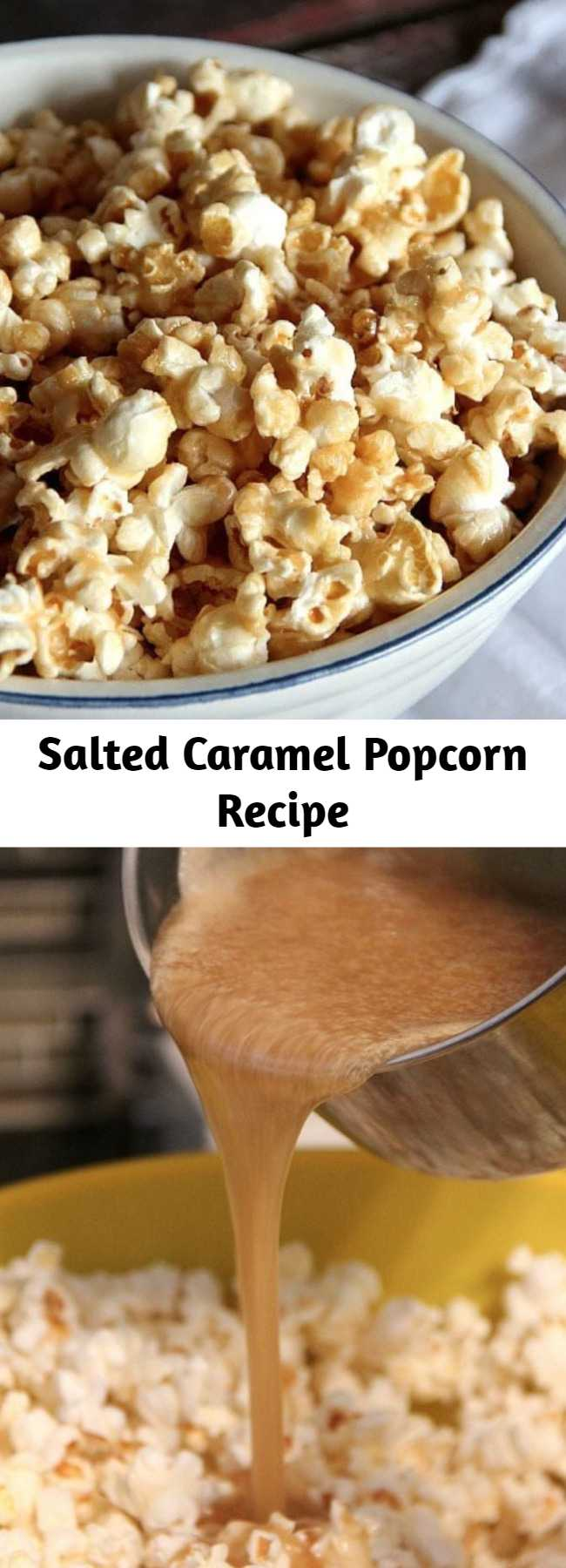 Salted Caramel Popcorn Recipe - This Easy Salted Caramel Popcorn Recipe is my favorite Caramel Corn Recipe! It's so easy and adding that extra salt gives it the perfect salty/sweet combo!