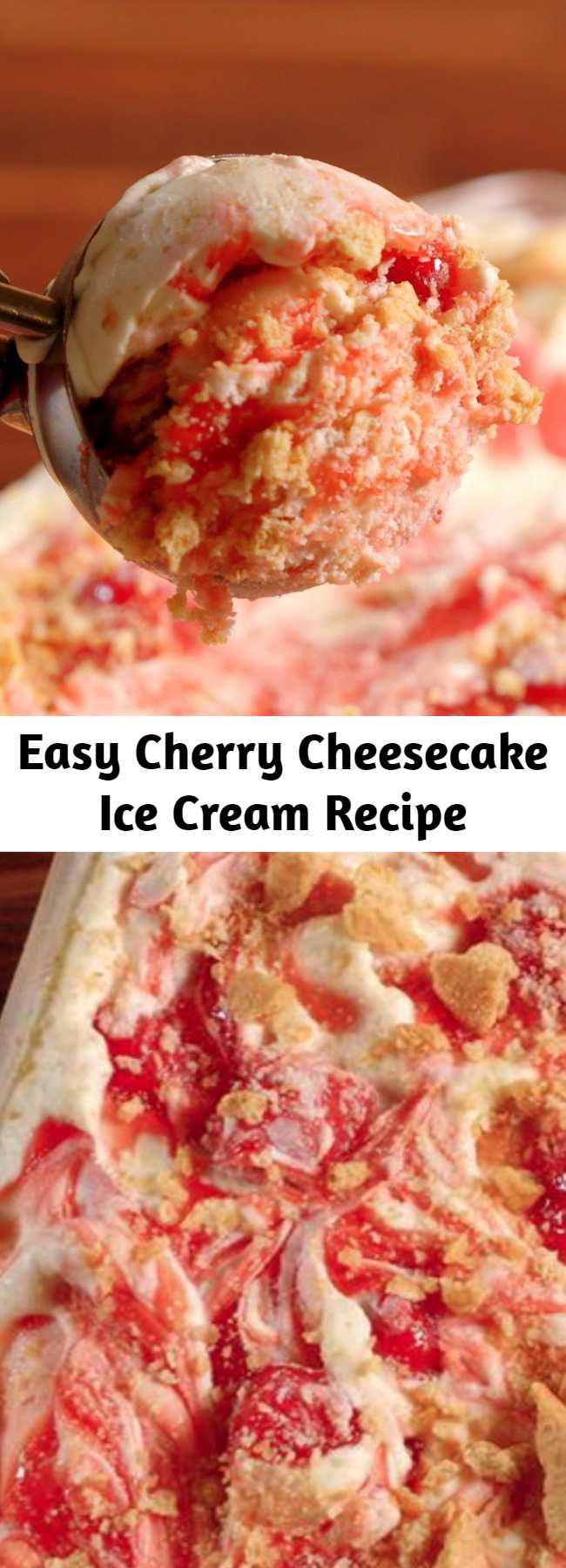 Easy Cherry Cheesecake Ice Cream Recipe - Check out this easy (no churn!) recipe for cherry cheesecake ice cream. It's even better than cherry pie a la mode!