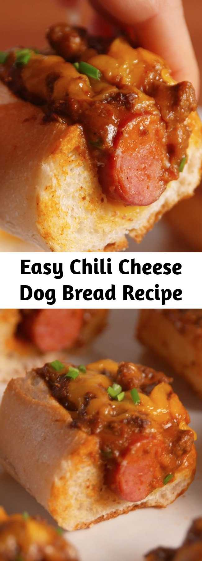Easy Chili Cheese Dog Bread Recipe - Everyone's your BFF when you bring these to the party. This recipe will make you forget everything you thought you knew about chili cheese dogs. We're pretty confident this'll be gobbled right up.