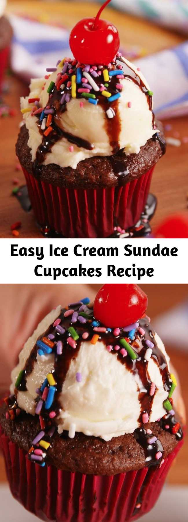 Easy Ice Cream Sundae Cupcakes Recipe - Your inner child called and specifically asked for you to make these immediately. Get ready for a sugar rush.