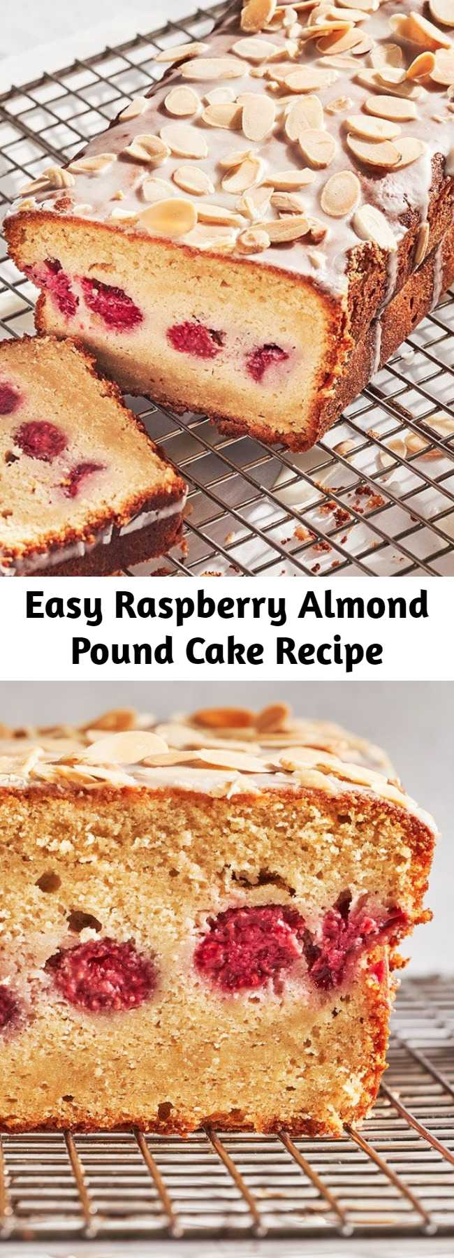 Easy Raspberry Almond Pound Cake Recipe - Raspberry Almond Pound Cake is an easy quick bread with a beautiful glaze and topped with toasted almonds.