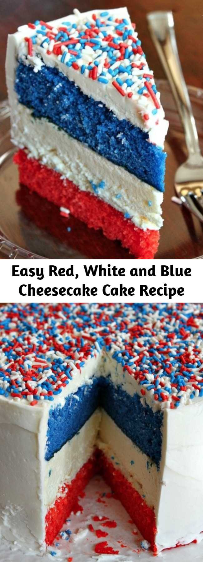 Easy Red, White and Blue Cheesecake Cake Recipe - This is an incredibly festive cake for summer holiday parties! It's easy to make (I promise), and you might just impress people at a summer party if you show up with a cake like this Red, White and Blue Cheesecake Cake.