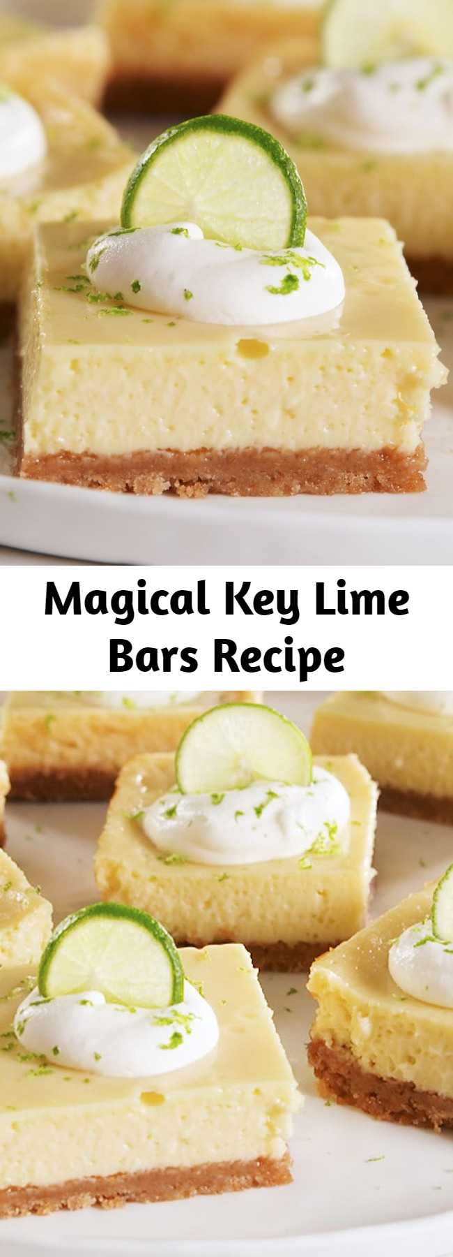 Magical Key Lime Bars Recipe - No added sugar is needed in these bars! The ever-magical sweetened condensed milk provides all the sugar you need. #easyrecipe #dessert #baking #keylime #sweets