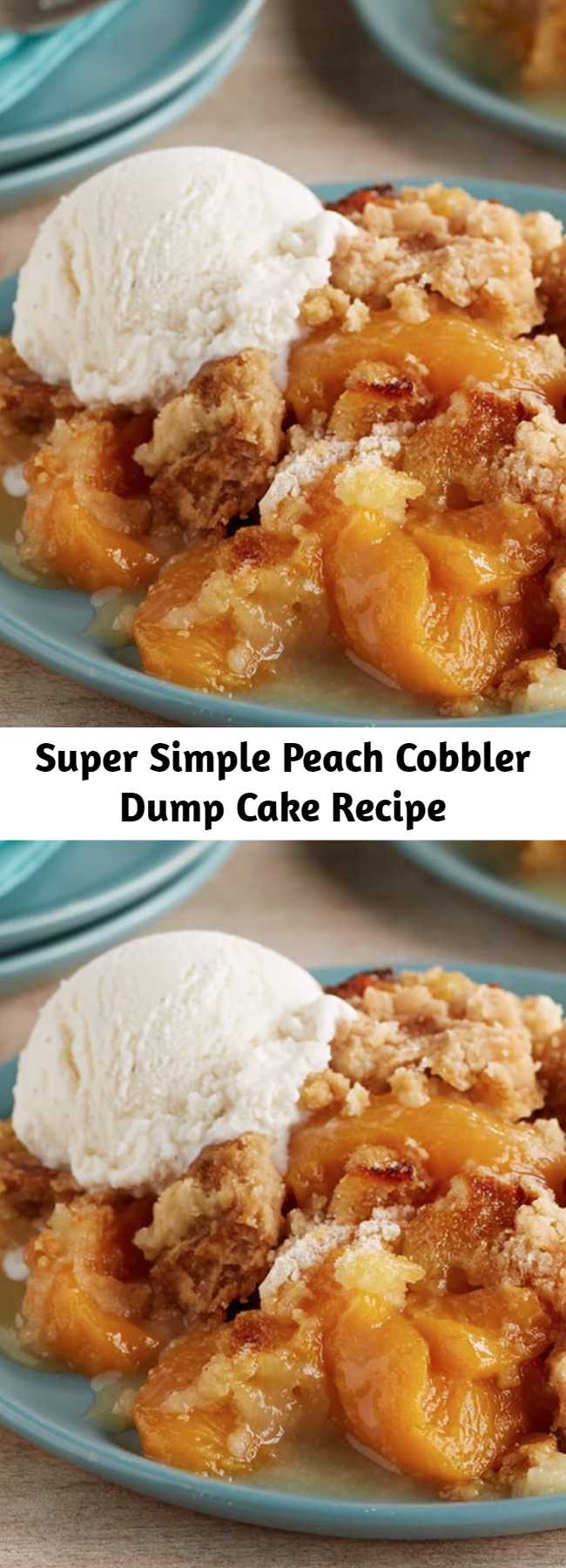 Super Simple Peach Cobbler Dump Cake Recipe - A super-simple sweet comfort food, made with 3 ingredients! No mixer, no eggs! Just layer fruit, dry cake mix and butter right in the baking dish, and a delicious dessert bakes up that's somewhere between a cobbler and a fruit crisp. Keep it good and simple, or try a variation to twist up the fun.