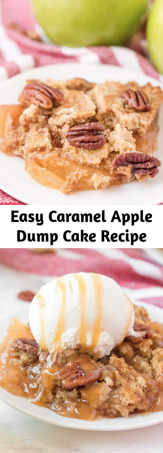 Easy Caramel Apple Dump Cake Recipe - SA simple recipe for Caramel Apple Dump cake made with butter pecan cake mix and apple pie filling! A tender and moist spiced cake with tender apples throughout topped with nuts and a caramel drizzle that is the perfect amount of sweetness. Add a scoop of ice cream or dollop of whipped cream and you have a straightforward dessert is crowd worthy. #dumpcake #caramel #apples