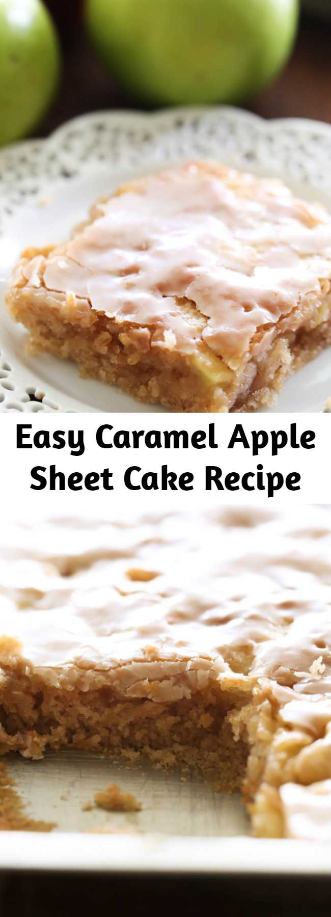Easy Caramel Apple Sheet Cake Recipe - This delicious apple cake is perfectly moist and has caramel frosting infused in each and every bite! It is heavenly!